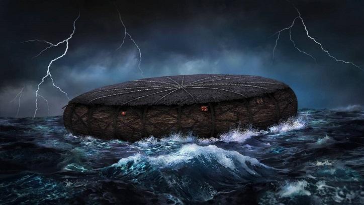 Eine babylonische Tafel zeigt einen runden Prototyp der Arche Noah